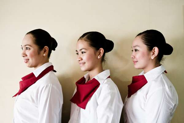 Student waitresses at Punlaan School