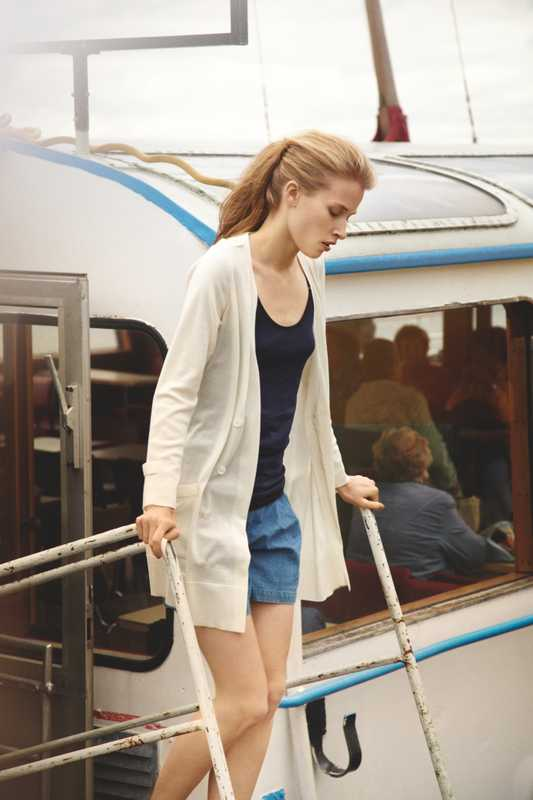Cardigan by Tomorrowland Collection, camisole by Sunspel, shorts by Madras