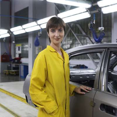 An employee at the Avtotor car plant outside Kaliningrad
