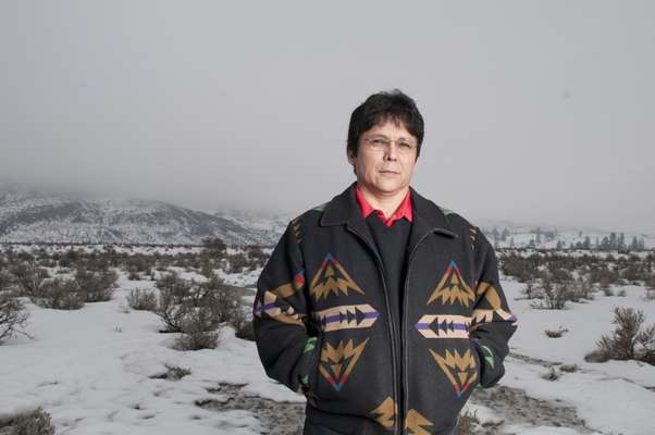 Osoyoos Indian Band Chief, Clarence Louie, in a grassland area called Manuel Flats on the reservation
