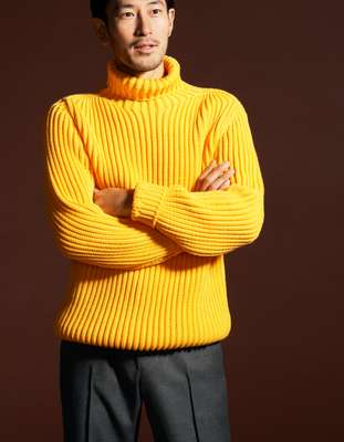 Rollneck jumper by Id Dailywear from Dailyshop, trousers by Maison Kitsuné