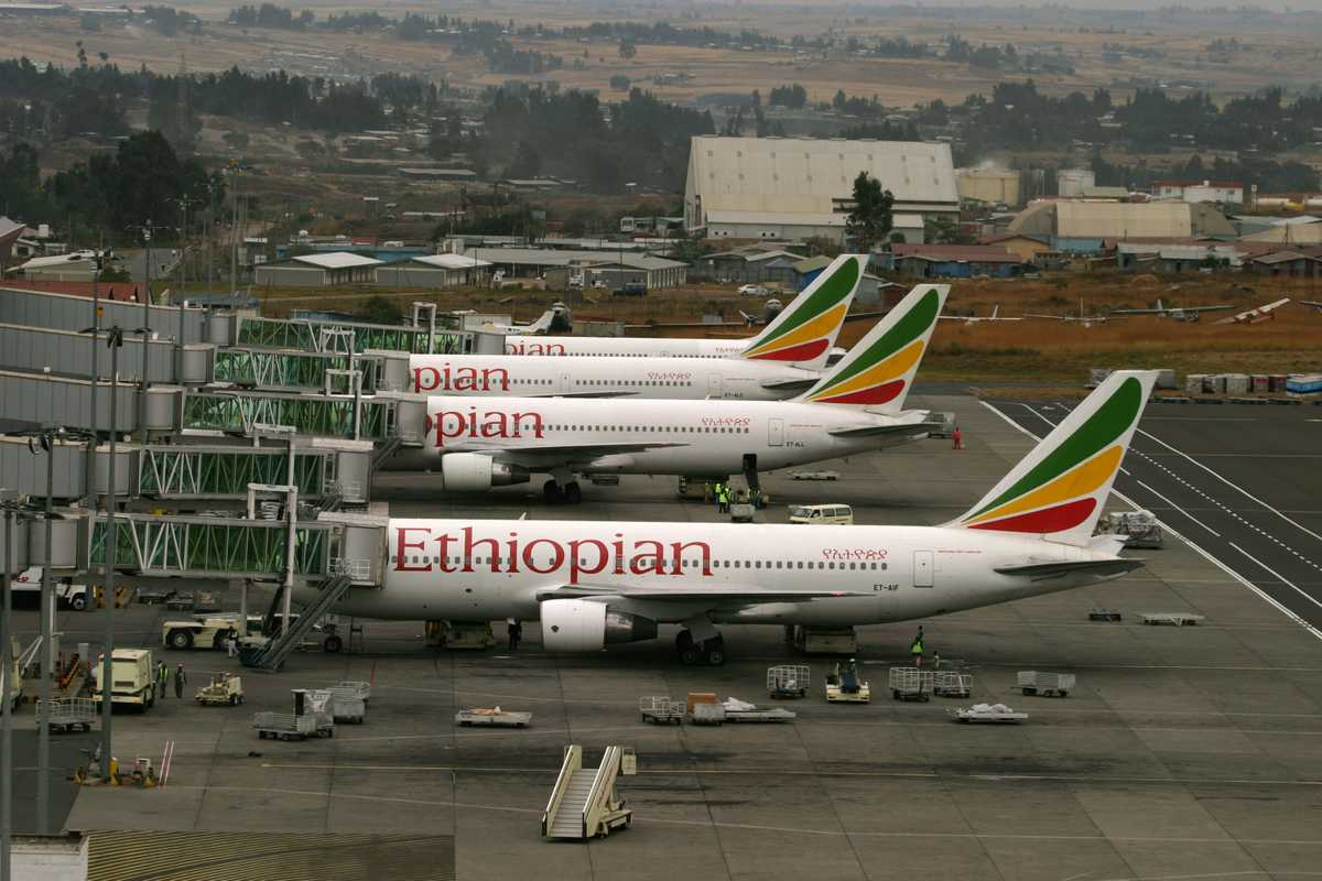 Ethiopian Airlines' growing fleet of aircraft at Bole International Airport