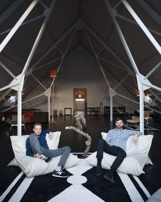 Michael Elmgreen (left) and Ingar Dragset in the loft of their renovated pumphouse