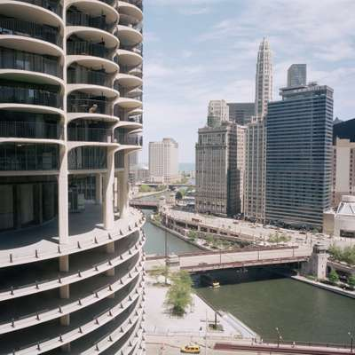 View down Chicago River to Lake Michigan from the West Tower