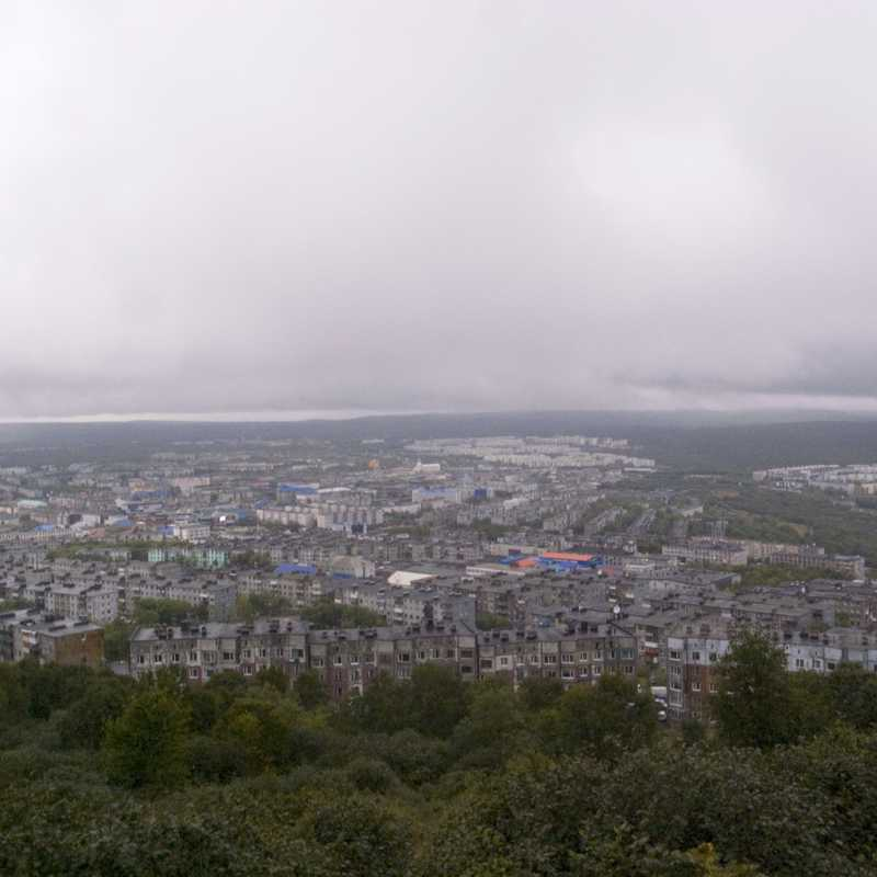 A view over Petropavlovsk during bad weather