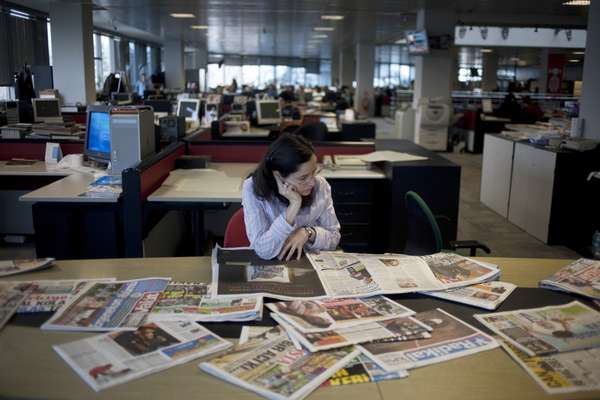 Collection of newspapers in the Milliyet office