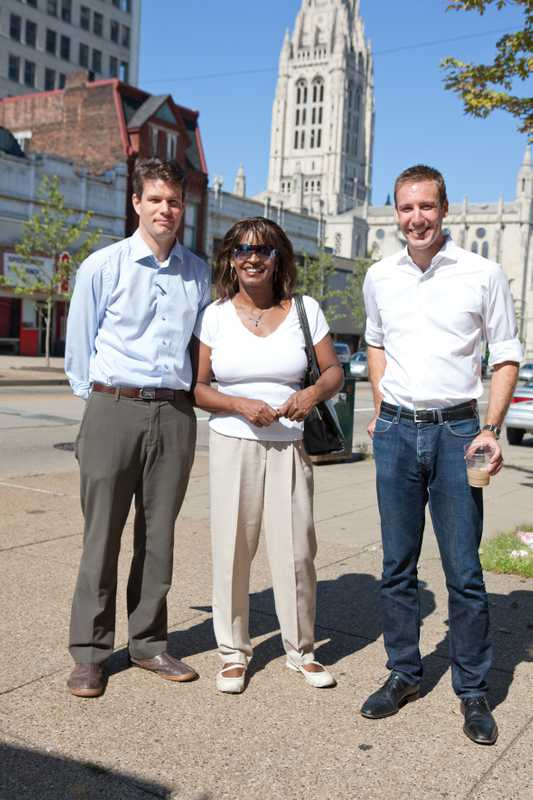 Maelene Myers is the Executive Director of East Liberty Development, with Matthew Ciccone (right) and Nathan Cunningham (left)