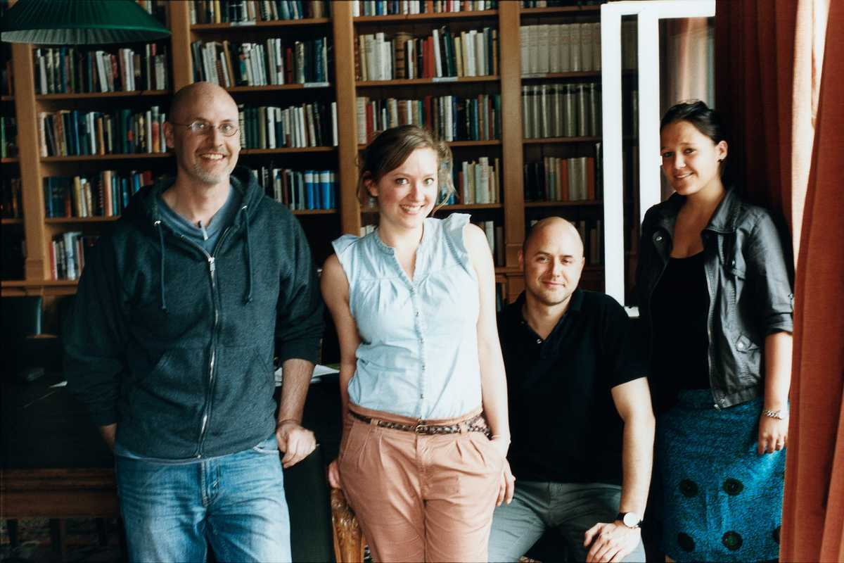 American Academy fellow Richard Deming (left) and staff