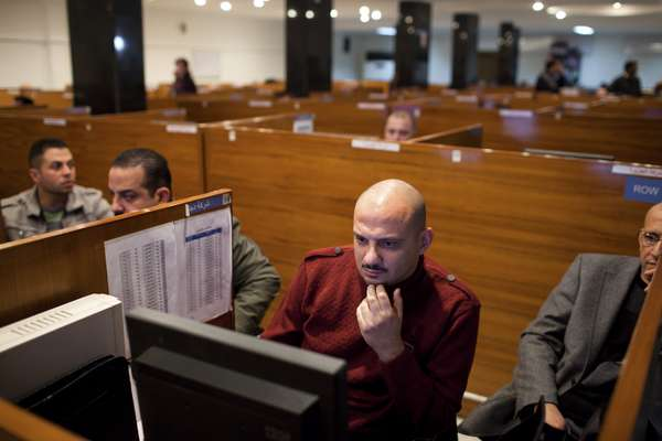 Stockbrokers at the Iraq Stock Exchange