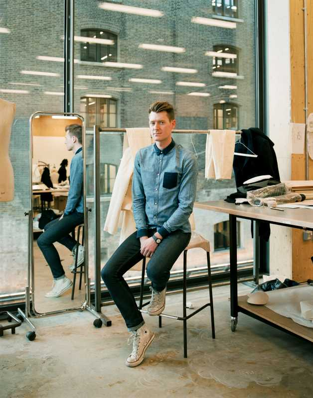 Philip Strawbridge, BA Menswear, UK, in the menswear studio