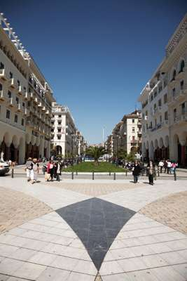 View of Aristotelous Square from the port's promenade