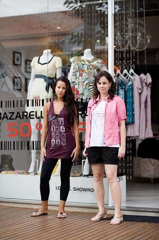 Fashion designer and owner of Vish!, Andreia Schmidt, and store assistant Gabriela Martinez, Lagoa da Conceição