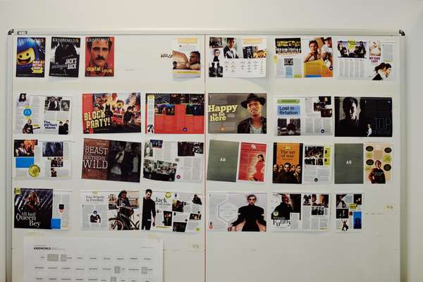 The design wall for Singapore Airlines' 'KrisWorld' magazine