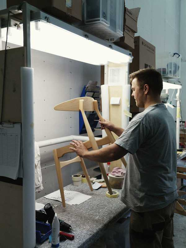 Hans J Wegner's CH33 chair being produced