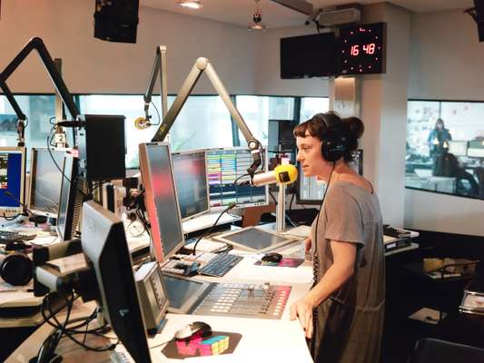 FM4 host Esther Csapo during her live show