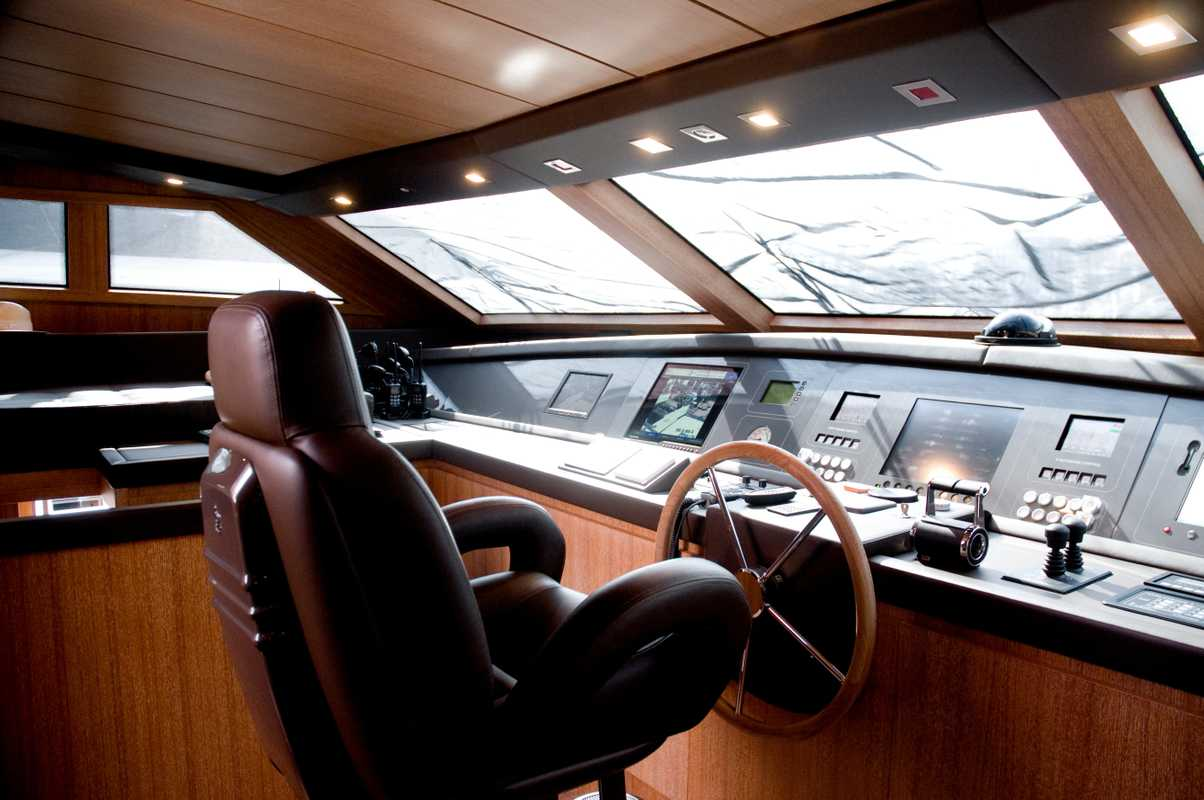 Captain's deck on San Lorenzo 33m yacht 'Keep Cool'