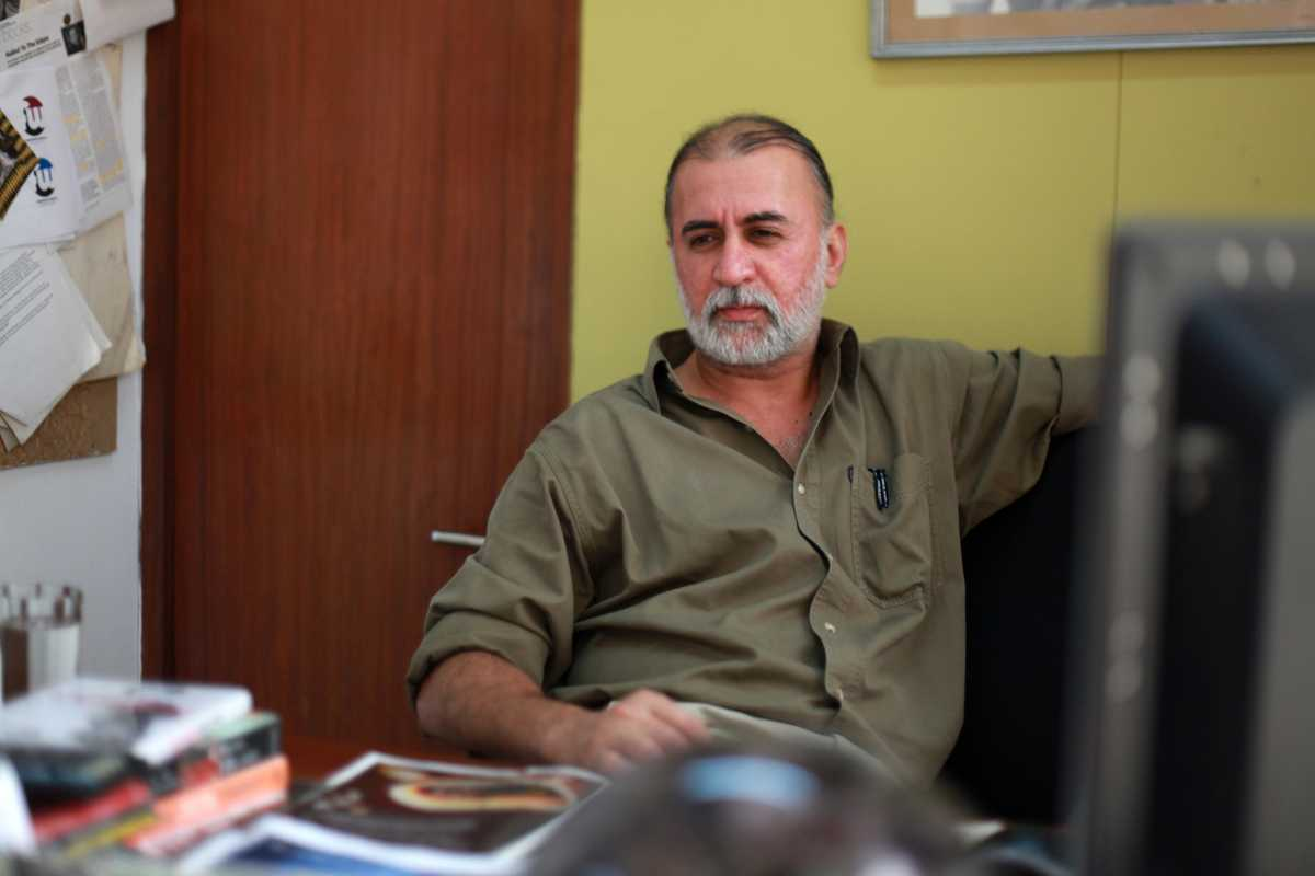 Editor-in-chief of 'Tehelka', Tarun Tejpal, at his office in New Delhi