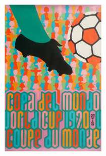 Poster from the Mexico World Cup. The typography is devised from the segmented World Cup football introduced to the game in 1970
