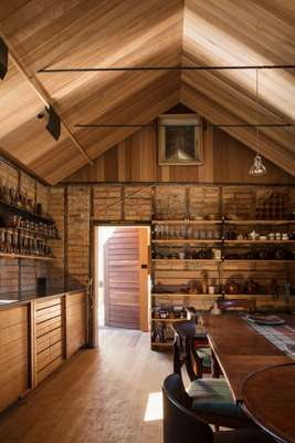 A gabled ceiling was created for the historic kitchen