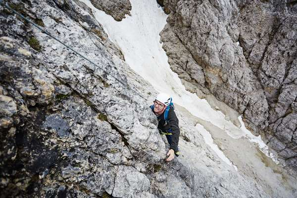 Haselböck climbing in Italy