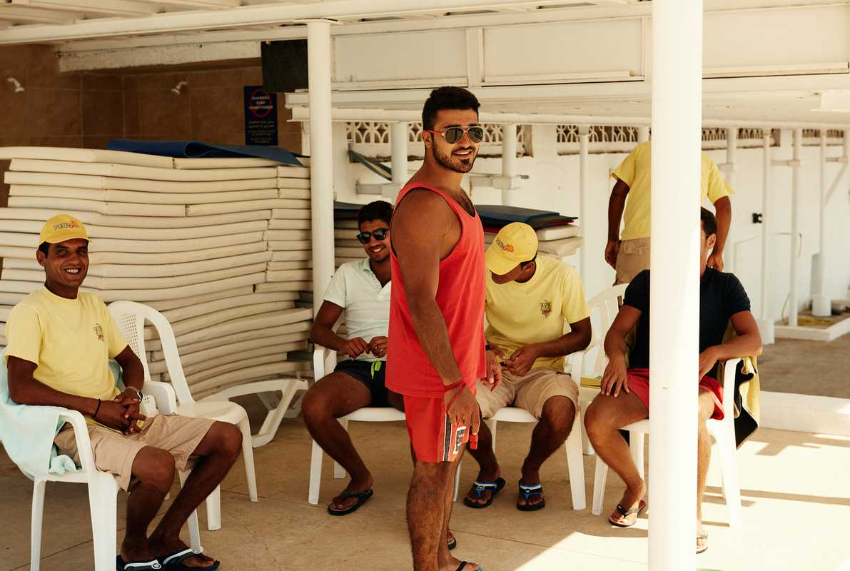 Lifeguards at Sporting relaxing in the shade