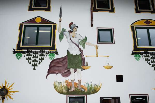 Handpainted mural at Forst laboratory where quality-control tests are done during phases of beer-making