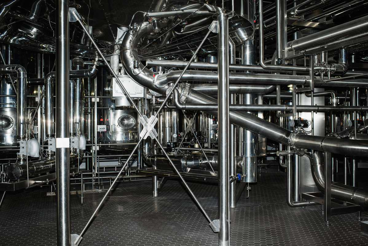 Plumber's nightmare: some of the brewery's 44km of pipes