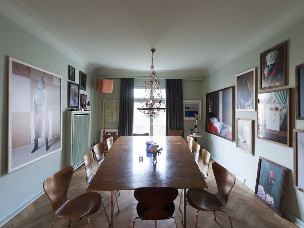 Dining room with  mid-century table  and chairs