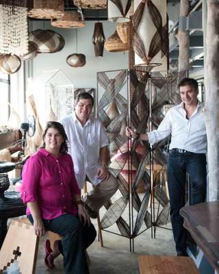 Husband and wife team (left) and marketing director Sergio Boero at Hacienda Crafts