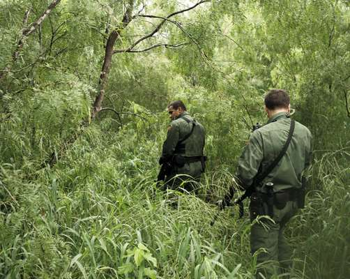 US Border Patrol agents check a popular crossing point for illegal immigrants, Edinburg, Texas