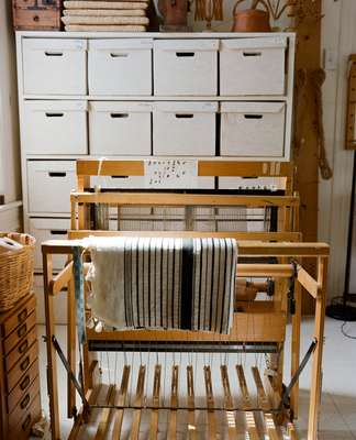Loom in Sekimachi's weaving annexe