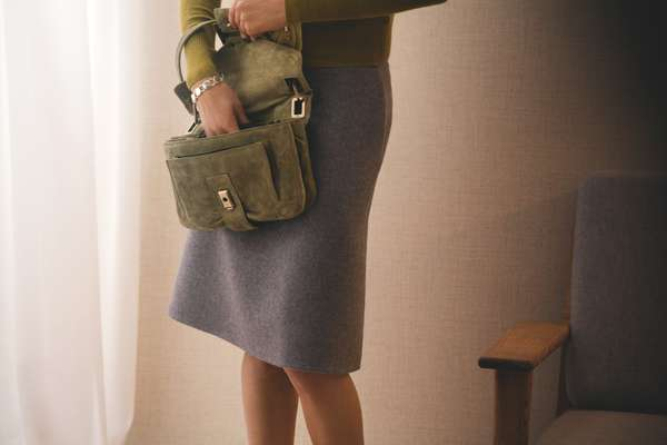 Cardigan by J.Crew, Skirt by Hermes, Bag by RogerVivier, Bracelet by Georg Jensen