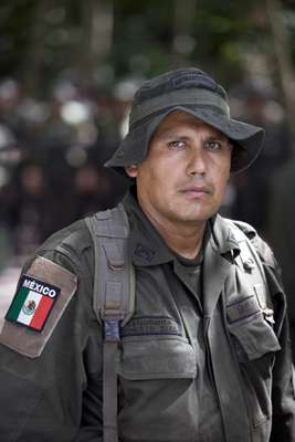 Ernesto Diaz, one of 25 Mexican policemen on the course