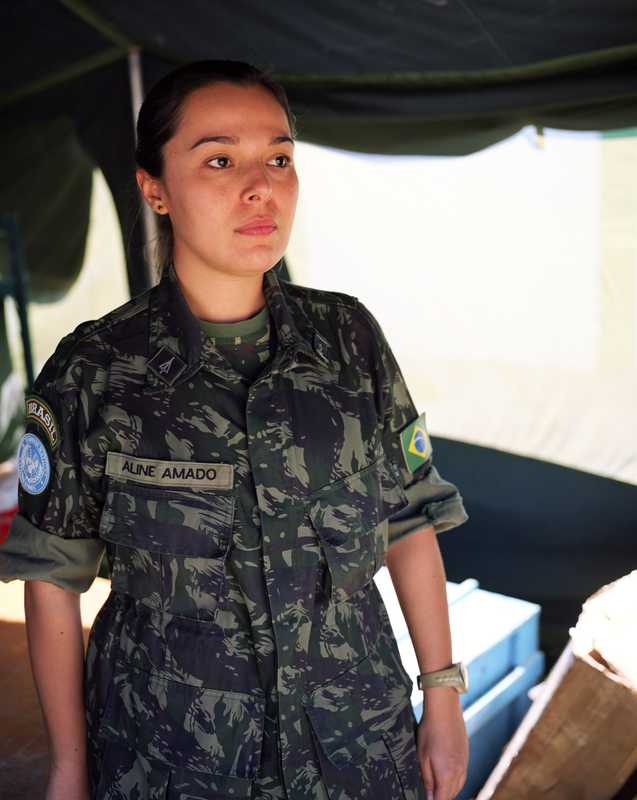 First Lieutenant Aline Amado from the Brazilian engineers (Braengcoy)