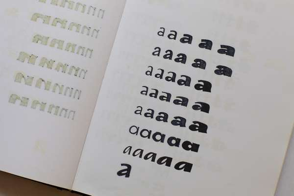 Sketches for different weights of a typeface