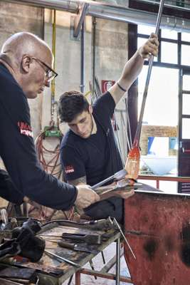 Roberto Beltrami is  one of the youngest glass-blowers at  Abate Zanetti