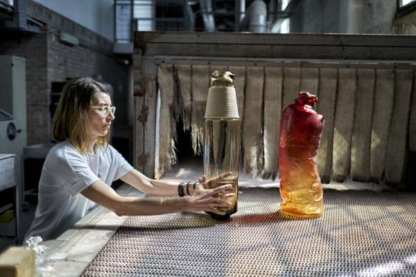 Designer Chiara Onida with Breaking the Mould's vases