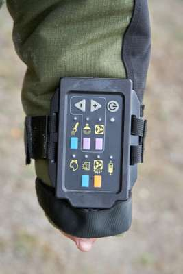 Control unit on the sleeve of the EOD-9 bomb disposal suit