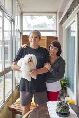 Eduardo Caldeira, Monica Mathias and their dog, the Maltese Benjamin Star