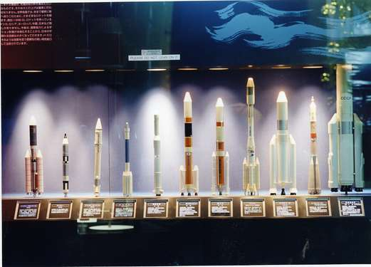 Models of rockets from around the world