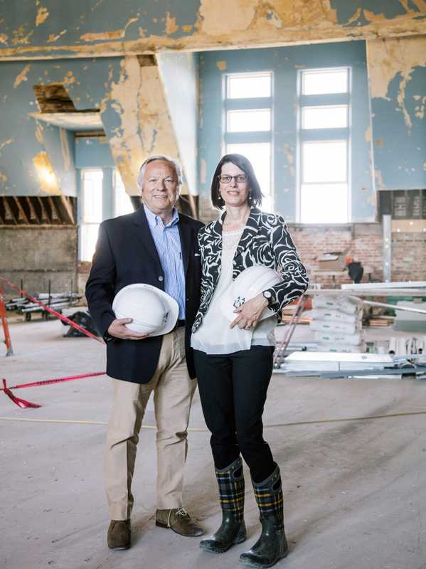 Developer Dennis P Murphy and preservationist Monica Pellegrino in the Olmsted-Richardson complex