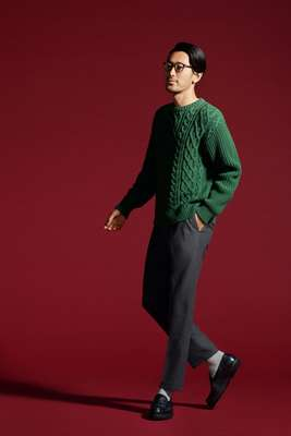 Jumper by N Hoolywood from Mister Hollywood, trousers by Cellar Door, socks by Muji, shoes by Paraboot, glasses by Persol