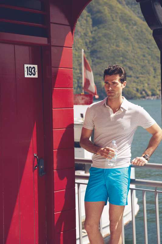 Polo shirt by Hermès, swim trunks by Orlebar Brown, watch by Bell & Ross