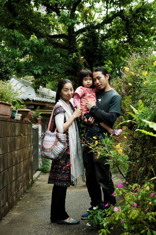 A family living in Naha: Fukuko (left), Lala and Yusuke Ono