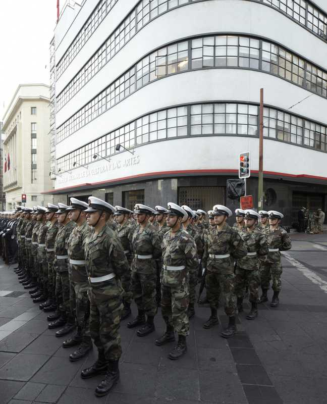 Troops outside the National Council of Culture and Arts