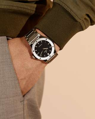 Blouson by Valstar, trousers by A Kind of Guise, watch by Hublot