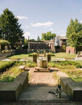 Italiante gardens at the Inn at Irwin Gardens, completed in 1913 and inspired by Pompeii
