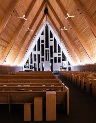 First Baptist Church interior by prolific architect Harry Weese, 1965