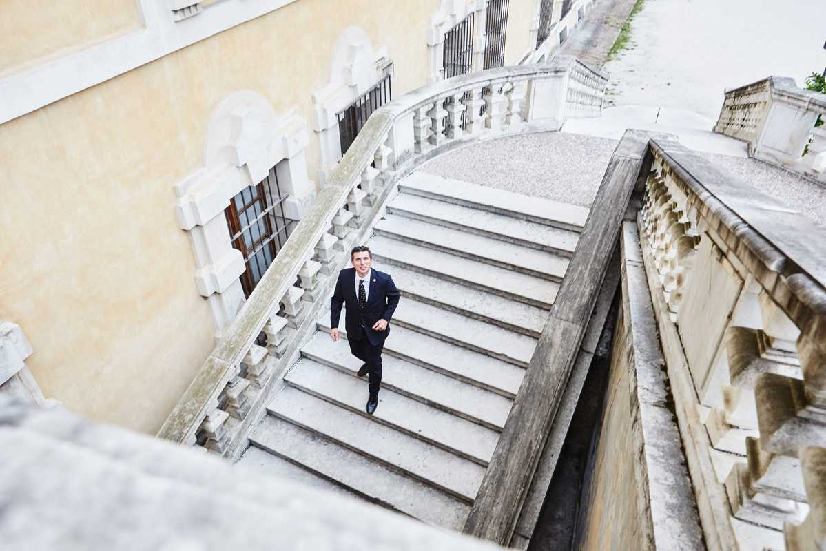 Andrea Sinigaglia, Alma's general manager, on the grand staircase to the garden