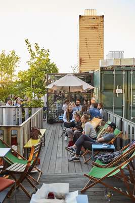 The Container Collective is a set of shipping containers home to radio stations, bars and more